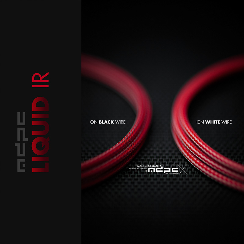 Liquid-Red cable sleeving. MDPC-X colors likenoother, made in Germany.