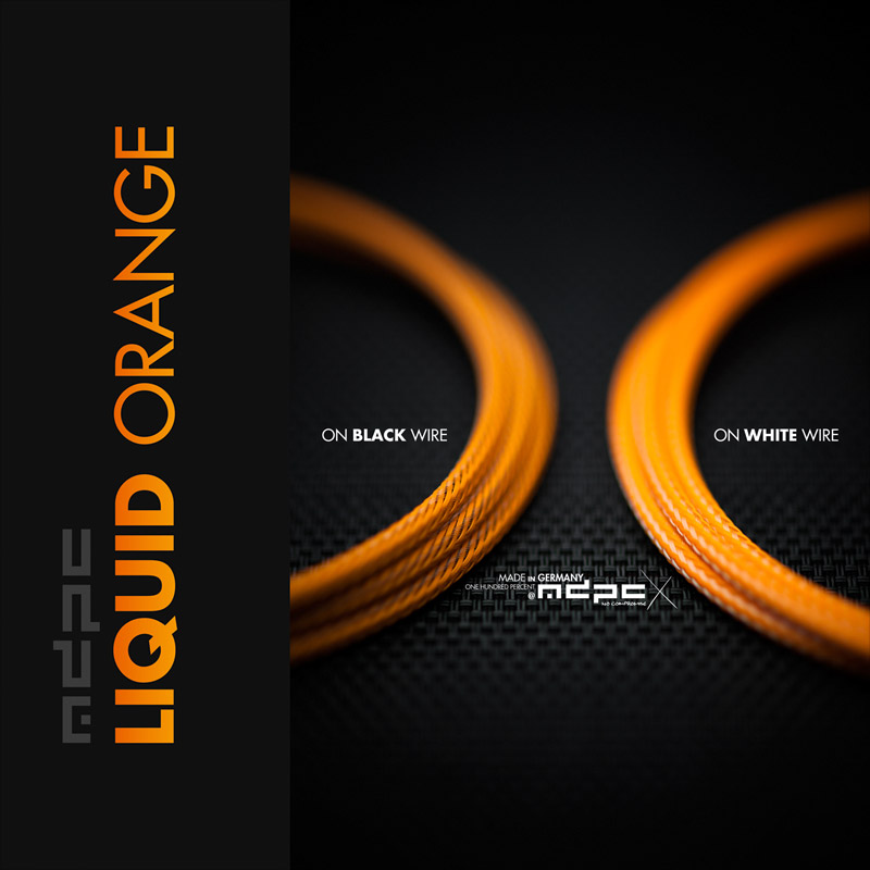 Liquid-Orange cable sleeves by MDPC-X. Made in Germany like no other!